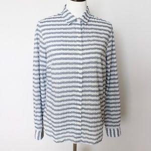 J.Mclaughlin Button Down Shirt Size 8 Blue VV19